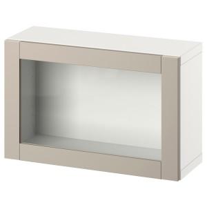 БЕСТО Комбинация настенных шкафов, белый, Синдвик светло-серый/бежевый