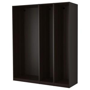 ПАКС 3 каркаса гардеробов, черно-коричневый черно-коричневый