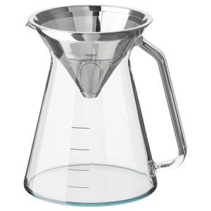 ХОГМОДИГ Кувшин и фильтр д/заваривания кофе, прозрачное стекло, нержавеющ сталь