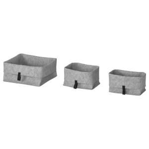 РАГГИСАР Набор корзин,3 штуки, серый