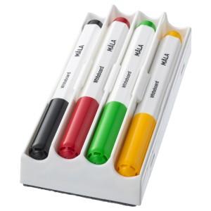 МОЛА Фломастер для доски, разные цвета разные цвета, 4шт