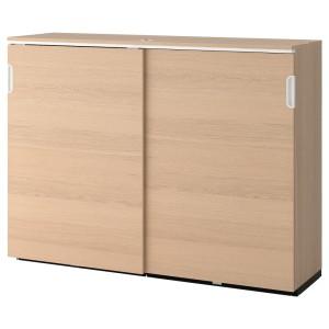 ГАЛАНТ Шкаф с раздвижными дверцами, дубовый шпон, беленый
