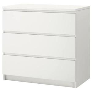 МАЛЬМ Комод с 3 ящиками, белый