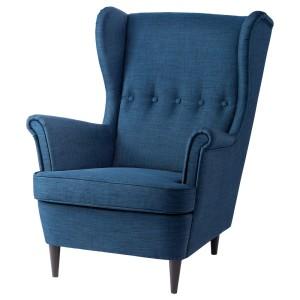 СТРАНДМОН Кресло с подголовником, Шифтебу темно-синий