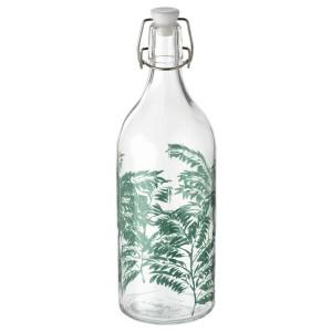 КОРКЕН Бутылка с пробкой, прозрачное стекло, с рисунком