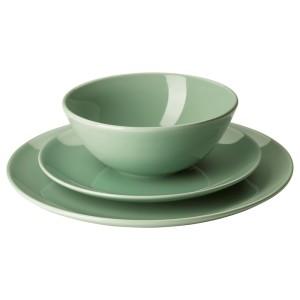 ФЭРГРИК Сервиз,18 предметов, каменная керамика, светло-зеленый