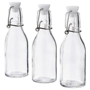 КОРКЕН Бутылка с пробкой, прозрачное стекло, 3шт