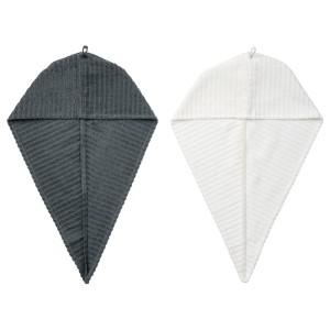 ТРЭТТЕН Полотенце для сушки волос, темно-серый, белый, 2шт