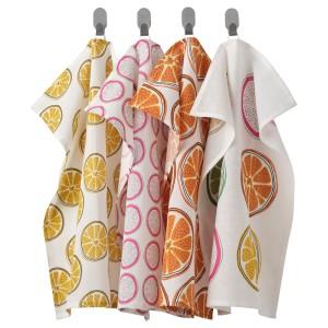 ТОРВФЛЮ Полотенце кухонное, с рисунком, оранжевый, 4шт
