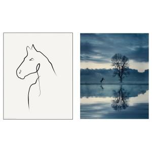 БИЛЬД Постер, Рисунок лошади, 2шт
