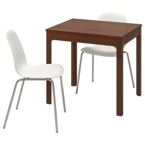 ЭКЕДАЛЕН / ЛЕЙФ-АРНЕ Стол и 2 стула, коричневый, белый