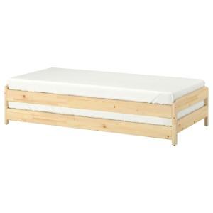 УТОКЕР Штабелируемые кровати с 2 матрасами, сосна, Малфорс средней жесткости, 2шт