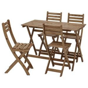 АСКХОЛЬМЕН Стол+4 стула, д/сада, серо-коричневая морилка