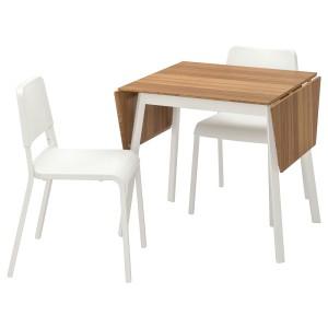 ИКЕА ПС 2012 / ТЕОДОРЕС Стол и 2 стула, бамбук белый, белый