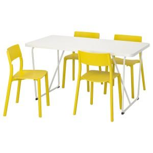 РЮДЕБЭКК/БЭККАРИД / ЯН-ИНГЕ Стол и 4 стула, белый, желтый