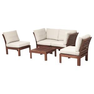 ЭПЛАРО 4-местный комплект садовой мебели, коричневая морилка, ФРЁСЁН/ДУВХОЛЬМЕН бежевый