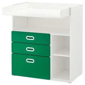 СТУВА / ФРИТИДС Пеленальный стол с ящиками, белый, зеленый