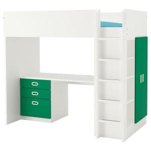 СТУВА / ФРИТИДС Кровать-чердак/3 ящика/2 дверцы, белый, зеленый