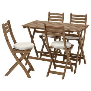 АСКХОЛЬМЕН Стол+4 складных стула, д/сада, серо-коричневая морилка, ФРЁСЁН/ДУВХОЛЬМЕН бежевый
