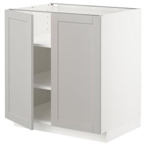 МЕТОД Напол шкаф с полками/2двери, белый, Лерхюттан светло-серый
