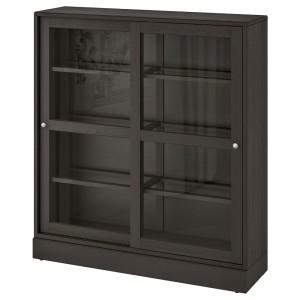 ХАВСТА Шкаф-витрина с цоколем, темно-коричневый, прозрачное стекло