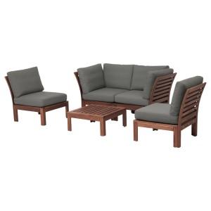 ЭПЛАРО 4-местный комплект садовой мебели, коричневая морилка, ФРЁСЁН/ДУВХОЛЬМЕН темно-серый
