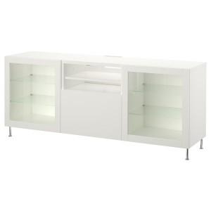 БЕСТО Тумба д/ТВ с ящиками, белый, лаппвик/сталларп белый прозрачное стекло