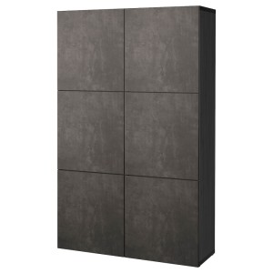БЕСТО Комбинация для хранения с дверцами, черно-коричневый КЭЛЛЬВИКЕН, темно-серый под бетон