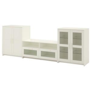БРИМНЭС Шкаф для ТВ, комбин/стеклян дверцы, белый
