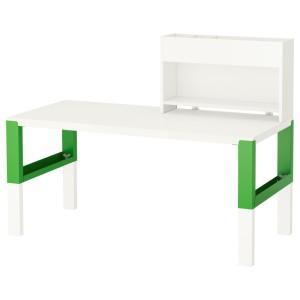 ПОЛЬ Стол с дополнительным модулем, белый, зеленый