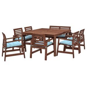 ЭПЛАРО Стол+6кресел+скамья,д/сада, коричневая морилка, Куддарна голубой