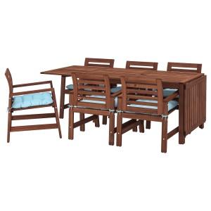 ЭПЛАРО Стол+6 кресел,д/сада, коричневая морилка, Куддарна голубой