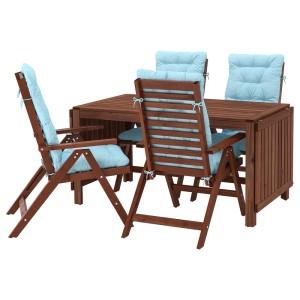 ЭПЛАРО Стол+4 кресла, д/сада, коричневая морилка, Куддарна синий голубой