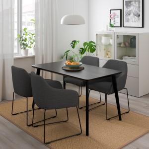 ЛИСАБО / ТОССБЕРГ Стол и 4 стула, черный металлический, серый