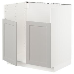 МЕТОД Шкаф для двойной мойки БРЕДШЁН, белый, Лерхюттан светло-серый