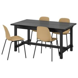 НОРДВИКЕН / ЛЕЙФ-АРНЕ Стол и 4 стула, черный, Брур-Инге черный