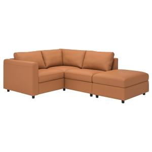 ВИМЛЕ 3-местный угловой диван, с открытым торцом, Гранн/Бумстад золотисто-коричневый