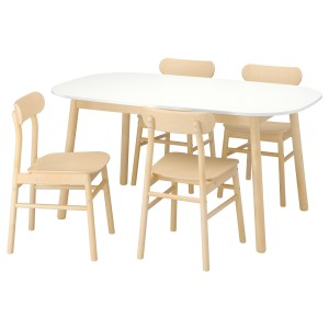 ВЕДБУ / РЁННИНГЕ Стол и 4 стула, белый, береза