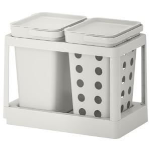 ХОЛЛБАР Решение для сортировки мусора, с выдвижным модулем вентилируемый, светло-серый
