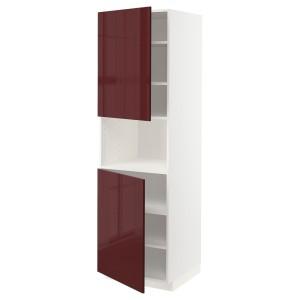 МЕТОД Выс шкаф д/СВЧ/2 дверцы/полки, белый Калларп, глянцевый темный красно-коричневый