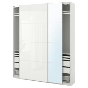 ПАКС / ФЭРВИК/АУЛИ Гардероб, комбинация, белый, белое стекло зеркальное стекло