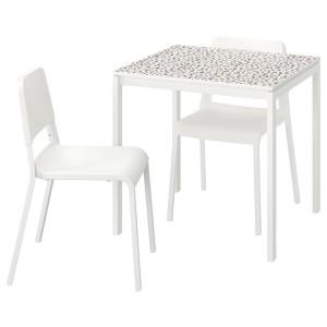 МЕЛЬТОРП / ТЕОДОРЕС Стол и 2 стула, мозаичный орнамент белый, белый