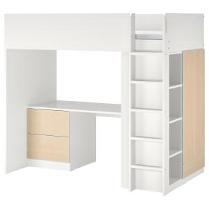 СМОСТАД Кровать-чердак, белый береза, с письменным столом с 3 ящиками