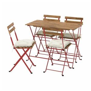 ТЭРНО Стол+4 стула, д/сада, красный/светло-коричневая морилка, Куддарна бежевый