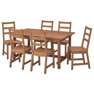 НОРДВИКЕН / НОРДВИКЕН Стол и 6 стульев, морилка,антик, морилка,антик