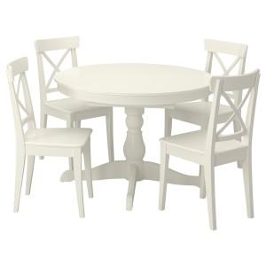 ИНГАТОРП / ИНГОЛЬФ Стол и 4 стула, белый, белый