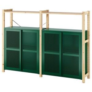 ИВАР 2 секции/полки/шкафы, сосна, зеленый сетка