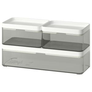 БРОГРУНД Контейнер, 3 шт., прозрачный серый, белый