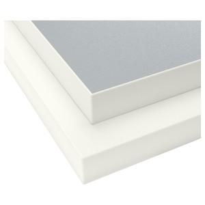 ЭКБАККЕН Столешница, двусторонняя, светло-серый с белой окантовкой светло-серый/белый, ламинат белый
