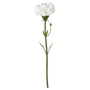 СМИККА Цветок искусственный, гвоздика, белый